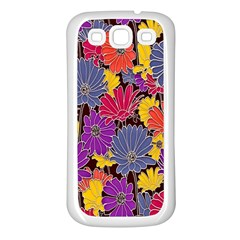 Colorful Floral Pattern Background Samsung Galaxy S3 Back Case (white)