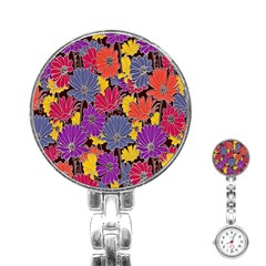 Colorful Floral Pattern Background Stainless Steel Nurses Watch