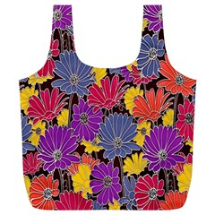 Colorful Floral Pattern Background Full Print Recycle Bags (l)