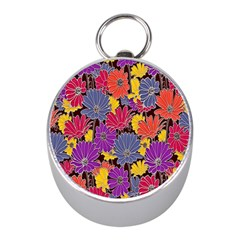 Colorful Floral Pattern Background Mini Silver Compasses