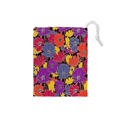 Colorful Floral Pattern Background Drawstring Pouches (small)