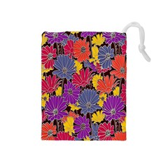 Colorful Floral Pattern Background Drawstring Pouches (medium)