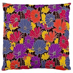 Colorful Floral Pattern Background Large Flano Cushion Case (Two Sides)