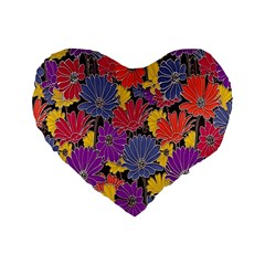 Colorful Floral Pattern Background Standard 16  Premium Flano Heart Shape Cushions