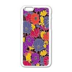 Colorful Floral Pattern Background Apple iPhone 6/6S White Enamel Case