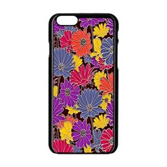 Colorful Floral Pattern Background Apple Iphone 6/6s Black Enamel Case