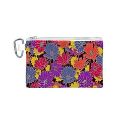 Colorful Floral Pattern Background Canvas Cosmetic Bag (s)