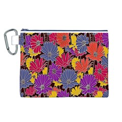 Colorful Floral Pattern Background Canvas Cosmetic Bag (L)