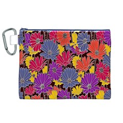 Colorful Floral Pattern Background Canvas Cosmetic Bag (XL)