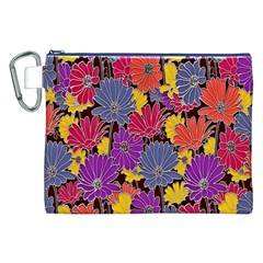 Colorful Floral Pattern Background Canvas Cosmetic Bag (xxl)