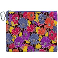 Colorful Floral Pattern Background Canvas Cosmetic Bag (XXXL)