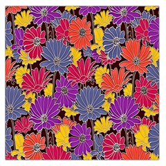 Colorful Floral Pattern Background Large Satin Scarf (Square)