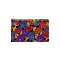 Colorful Floral Pattern Background Cosmetic Bag (XS)