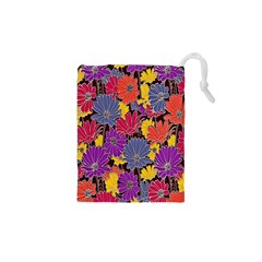 Colorful Floral Pattern Background Drawstring Pouches (XS)