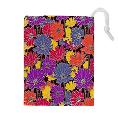 Colorful Floral Pattern Background Drawstring Pouches (extra Large)
