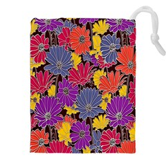 Colorful Floral Pattern Background Drawstring Pouches (XXL)