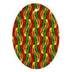 Colorful Wooden Background Pattern Ornament (oval)