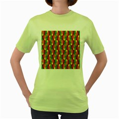 Colorful Wooden Background Pattern Women s Green T Shirt