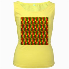 Colorful Wooden Background Pattern Women s Yellow Tank Top