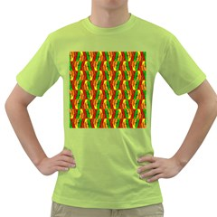 Colorful Wooden Background Pattern Green T Shirt