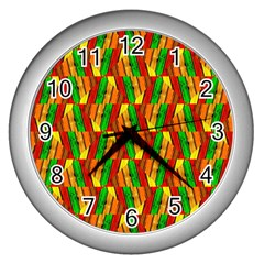 Colorful Wooden Background Pattern Wall Clocks (silver)