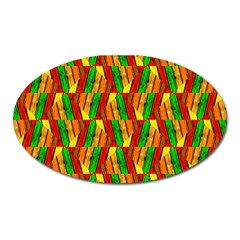 Colorful Wooden Background Pattern Oval Magnet