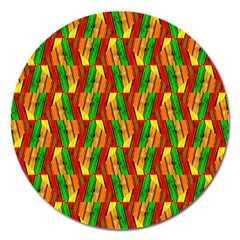 Colorful Wooden Background Pattern Magnet 5  (round)
