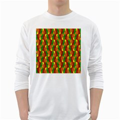 Colorful Wooden Background Pattern White Long Sleeve T Shirts