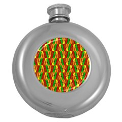Colorful Wooden Background Pattern Round Hip Flask (5 oz)