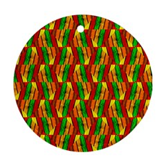 Colorful Wooden Background Pattern Round Ornament (Two Sides)