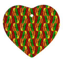 Colorful Wooden Background Pattern Heart Ornament (Two Sides)