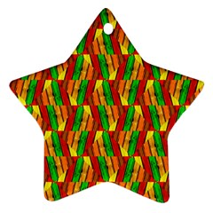 Colorful Wooden Background Pattern Star Ornament (Two Sides)