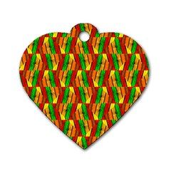 Colorful Wooden Background Pattern Dog Tag Heart (One Side)
