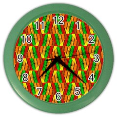 Colorful Wooden Background Pattern Color Wall Clocks