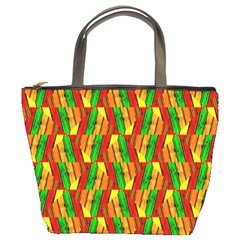 Colorful Wooden Background Pattern Bucket Bags