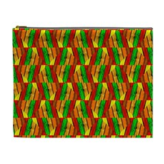 Colorful Wooden Background Pattern Cosmetic Bag (xl)