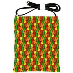 Colorful Wooden Background Pattern Shoulder Sling Bags