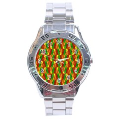 Colorful Wooden Background Pattern Stainless Steel Analogue Watch