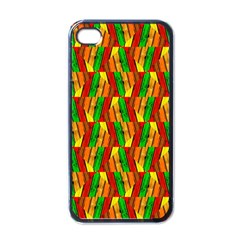 Colorful Wooden Background Pattern Apple iPhone 4 Case (Black)