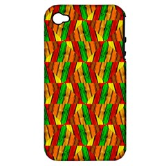 Colorful Wooden Background Pattern Apple iPhone 4/4S Hardshell Case (PC+Silicone)
