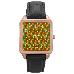 Colorful Wooden Background Pattern Rose Gold Leather Watch
