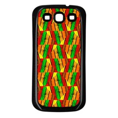 Colorful Wooden Background Pattern Samsung Galaxy S3 Back Case (Black)