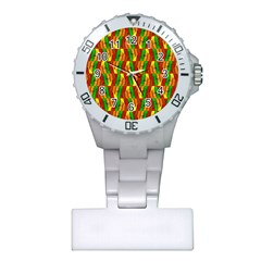 Colorful Wooden Background Pattern Plastic Nurses Watch