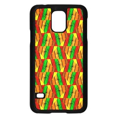 Colorful Wooden Background Pattern Samsung Galaxy S5 Case (Black)