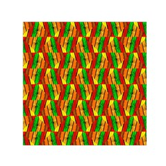 Colorful Wooden Background Pattern Small Satin Scarf (square)