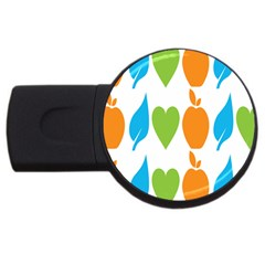 Fruit Apple Orange Green Blue USB Flash Drive Round (2 GB)