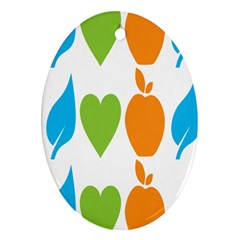 Fruit Apple Orange Green Blue Oval Ornament (Two Sides)