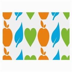 Fruit Apple Orange Green Blue Large Glasses Cloth (2-Side)