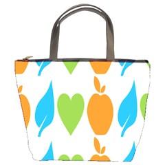 Fruit Apple Orange Green Blue Bucket Bags