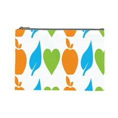Fruit Apple Orange Green Blue Cosmetic Bag (Large)